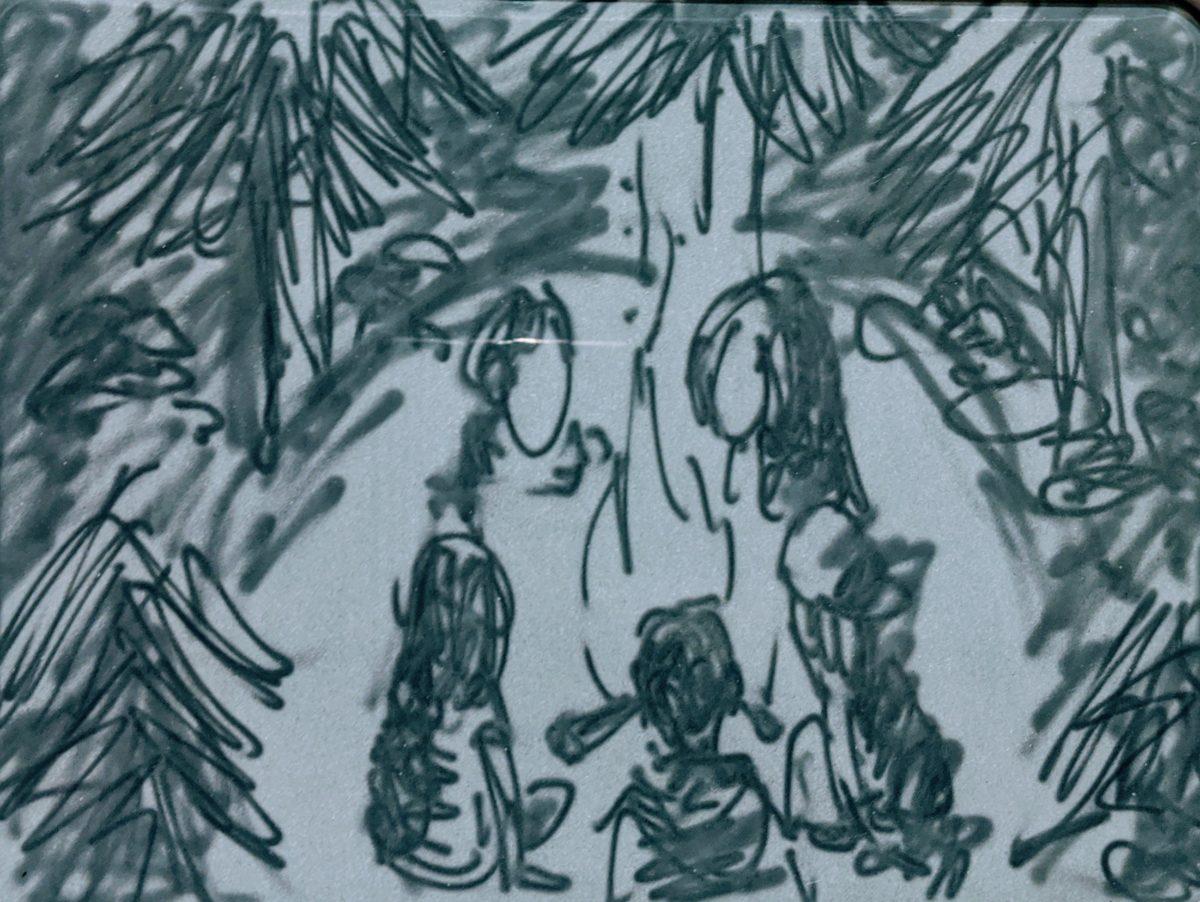 本日のアンパンマンお絵かきボードメディテーション③『焚き火』